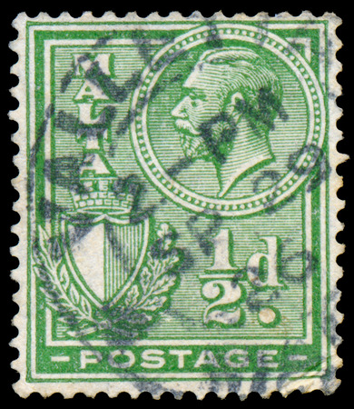 dominions: MALTA - CIRCA 1926: A stamp printed in MALTA shows image of the George V was King of the United Kingdom and the Dominions of the British Commonwealth, circa 1926.