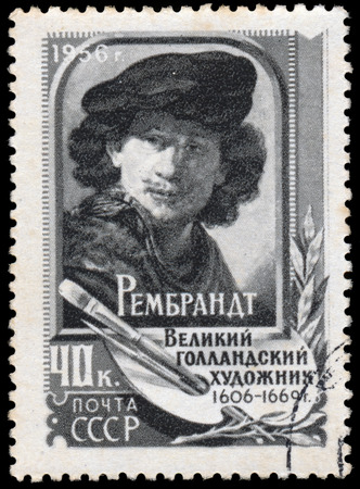 rembrandt: USSR - CIRCA 1956: A stamp printed in the USSR shows Rembrandt, circa 1956