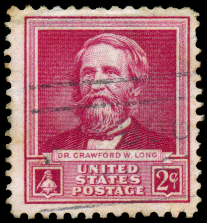 philately: USA - CIRCA 1940: A stamp printed in USA shows portrait of  Dr. Crawford W. Long, series Scientists, circa 1940