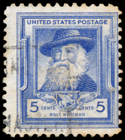 essayist: UNITED STATES OF AMERICA - CIRCA 1940: A stamp printed in USA shows Walt Whitman, circa 1940 Editorial