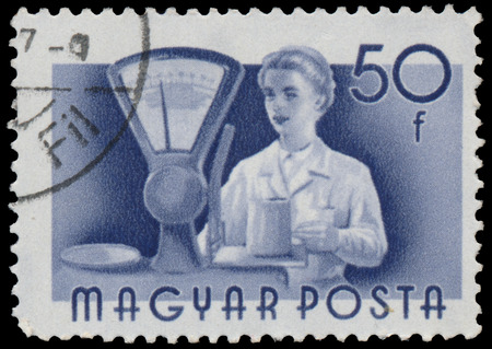 circa: HUNGARY - CIRCA 1955: A stamp printed in Hungary, shows Seller, series occupations, circa 1955