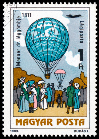 manned: HUNGARY - CIRCA 1983: A stamp printed in Hungary, shows Dr. Menner air balloon, 1811, with the same inscription, from the series 200 Years of Manned Flight, circa 1983 Stock Photo