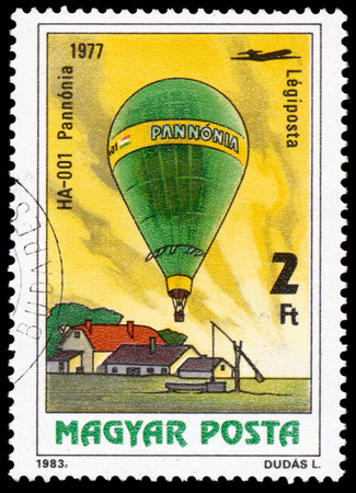 manned: HUNGARY - CIRCA 1983: A stamp printed in Hungary, shows HA-001 Pannonia 1977, from the series 200 Years of Manned Flight, circa 1983