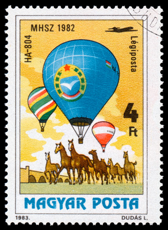 manned: HUNGARY - CIRCA 1983: A stamp printed in Hungary, shows HA-804 from the series 200 Years of Manned Flight, circa 1983