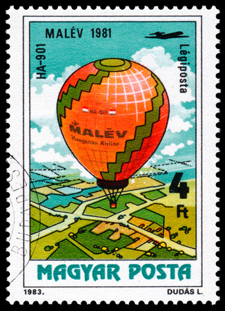 manned: HUNGARY - CIRCA 1983: A stamp printed in Hungary, HA-901 from the series 200 Years of Manned Flight, circa 1983 Stock Photo