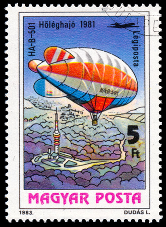 manned: HUNGARY - CIRCA 1983: A stamp printed in Hungary, shows Airship HA-B-501, from the series 200 Years of Manned Flight, circa 1983
