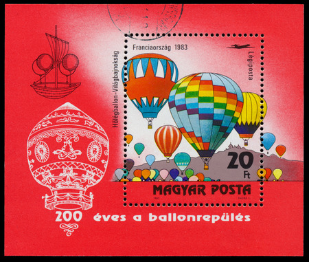 manned: HUNGARY - CIRCA 1983: A stamp printed in Hungary shows ballons from the series 200 Years of Manned Flight, circa 1983