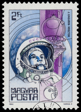 yuri: HUNGARY - CIRCA 1982: A stamp printed in Hungary shows Yuri Gagarin (first man in space) and Vostok, with the same inscription, from the series Space Research, circa 1982 Editorial