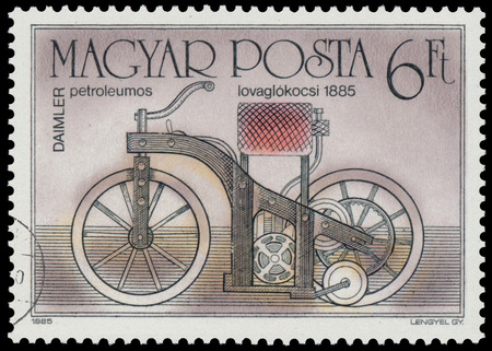 daimler: HUNGARY - CIRCA 1985: A stamp printed in Hungary from the Centenary of Motorcycle issue shows Daimler, 1885, circa 1985.