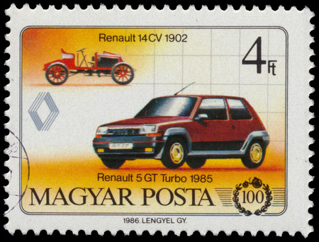 HUNGARY - CIRCA 1986: Stamp printed in Hungary, devoted to the 100th anniversary of the car, shows Renault 14 CV; 1902; and Renault 5 GT Turbo; 1985, circa 1986