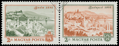 obuda: HUNGARY - CIRCA 1972: A stamp printed in Hungary shows View of Budapest, 1972, with the same inscription, from the series Centenary of Unification of Buda, Obuda and Pest as Budapest, circa 1972 Editorial
