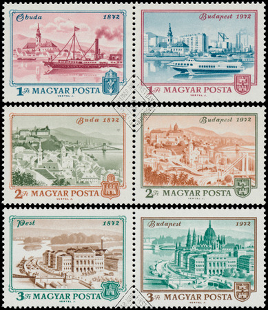 obuda: HUNGARY - CIRCA 1972: Set of stamps printed in Hungary shows View of Budapest, 1972, with the same inscription, from the series Centenary of Unification of Buda, Obuda and Pest as Budapest, circa 1972