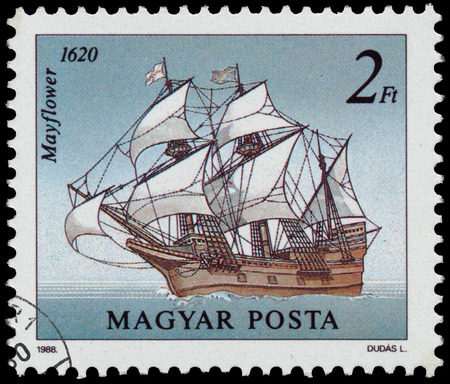 mayflower: HUNGARY - CIRCA 1988: A stamp printed in Hungary from the Sailing Ships  issue shows Mayflower, 1620, circa 1988. Editorial