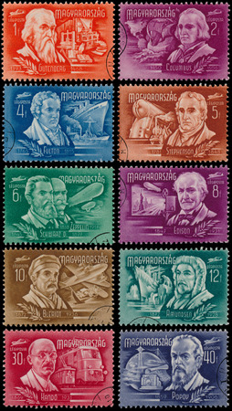 HUNGARY- CIRCA 1948: Set of stamps printed by Hungary, shows Inventors and Explorers, circa 1948