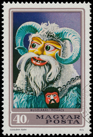 HUNGARY - CIRCA 1973: A stamp printed in Hungary shows Busojaras from town Mohacs, circa 1973 Editorial