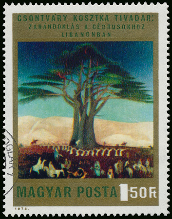 cedars: HUNGARY - CIRCA 1973: Stamp printed in Hungary, shows Picture by Csontvary Pilgrimage to Cedars of Lebanon, with the same inscription, circa 1973