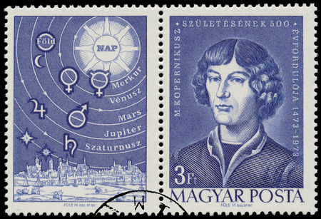 copernicus: HUNGARY - CIRCA 1973: Stamp printed by Hungary, shows a portrait of M. Copernicus 1473-1973, and planets, circa 1973 Editorial