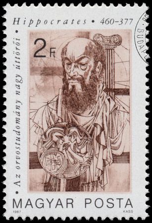 hippocrates: HUNGARY - CIRCA 1987: Stamp printed in Hungary shows Medical Pioneers - Hippocrates (460-377), circa 1987 Editorial