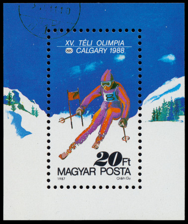 HUNGARY - CIRCA 1987: a stamp printed in the Hungary shows mountain skier, 1988 Winter Olympics, Calgary, Canada, circa 1987