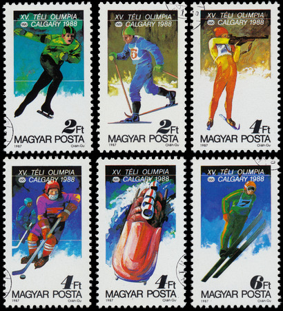 HUNGARY - CIRCA 1987: Set of stamps printed in the Hungary show 1988 Winter Olympics, Calgary, Canada, circa 1987