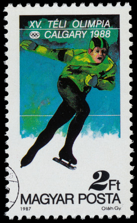 HUNGARY - CIRCA 1987: a stamp printed in the Hungary shows Speed Skating, 1988 Winter Olympics, Calgary, Canada, circa 1987
