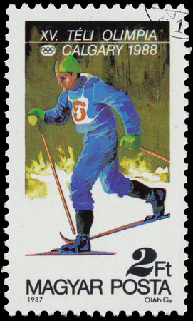 canada stamp: HUNGARY - CIRCA 1987: a stamp printed in the Hungary shows Cross-country, 1988 Winter Olympics, Calgary, Canada, circa 1987