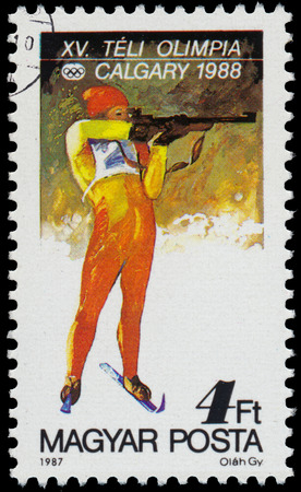 HUNGARY - CIRCA 1987: a stamp printed in the Hungary shows Biathlon, 1988 Winter Olympics, Calgary, Canada, circa 1987