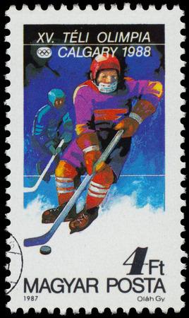 HUNGARY - CIRCA 1987: a stamp printed in the Hungary shows hockey, 1988 Winter Olympics, Calgary, Canada, circa 1987