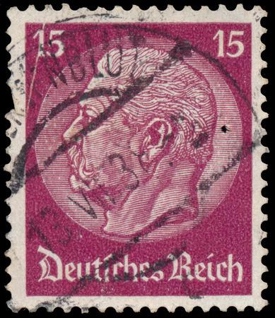 reich: GERMANY - CIRCA 1934: A stamp printed in Germany shows portrait of Paul von Hindenburg - 2nd President of German Reich, circa 1934