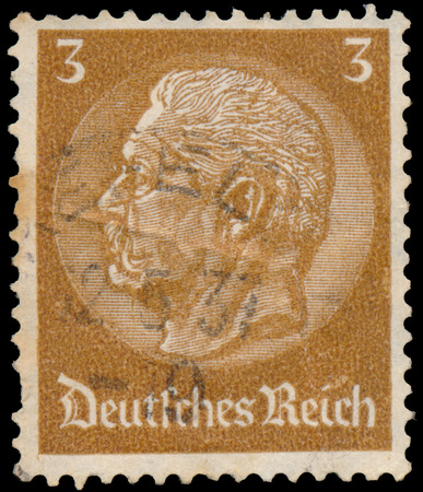 hindenburg: GERMANY - CIRCA 1934: A stamp printed in Germany shows portrait of Paul von Hindenburg - 2nd President of German Reich, circa 1934