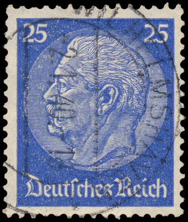 GERMANY - CIRCA 1934: A stamp printed in Germany shows portrait of Paul von Hindenburg - 2nd President of German Reich, circa 1934
