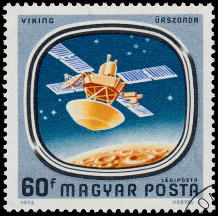 circa: HUNGARY - CIRCA 1976: Stamp printed in Hungary shows Viking, with the same inscription, from the series Space Probes to Mars and Venus, circa 1976.