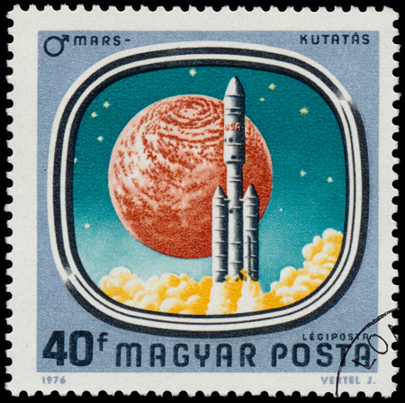 astronautics: HUNGARY - CIRCA 1976: Stamp printed in Hungary shows Launch of Viking, with the same inscription, from the series Space Probes to Mars and Venus, circa 1976.