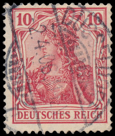 circa: GERMANY - CIRCA 1902: A stamp printed in Germany shows Germania, circa 1902.