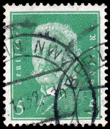 GERMANY - CIRCA 1928: a stamp printed in the Germany shows Paul von Hindenburg, 2nd President of the German Reich, circa 1928