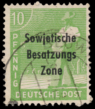 overprint: GERMANY - CIRCA 1948: A stamp printed in Germany, shows sower (overprint, the Soviet occupation zone), circa 1948