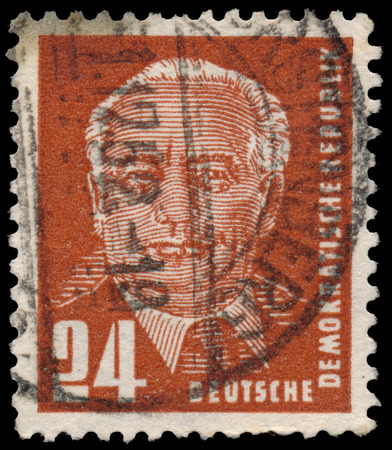 gdr: GERMANY - CIRCA 1952: a stamp printed in GDR shows first president Wilhelm Pieck (politician, communist), circa 1952