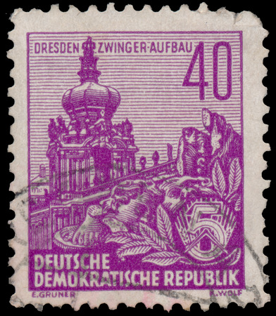 ddr: DDR - CIRCA 1955: A stamp printed in DDR, shows the Zwinger, series Five-year plan, circa 1955