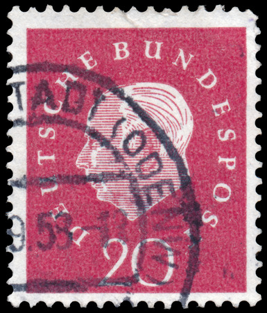 philatelic: GERMANY - CIRCA 1959: A stamp printed in Germany with portrait image of Theodor Heuss, the first President of the Federal Republic of Germany.