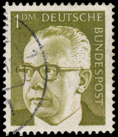 bundespost: GERMANY - CIRCA 1970: Stamp printed in Germany, shows portrait of Gustav Walter Heinemann (President of Federal Republic of Germany), series President Walter Heinemann, circa 1970 Editorial