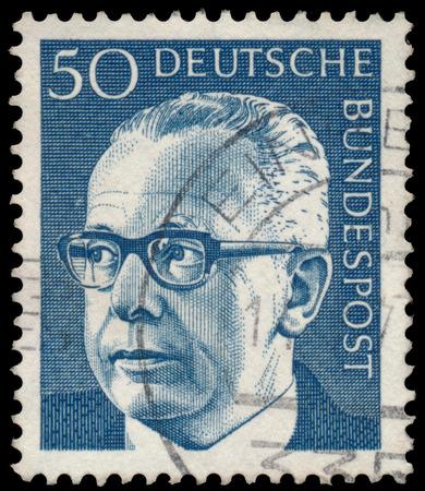 GERMANY - CIRCA 1970: Stamp printed in Germany, shows portrait of Gustav Walter Heinemann (President of Federal Republic of Germany), series President Walter Heinemann, circa 1970 Editorial