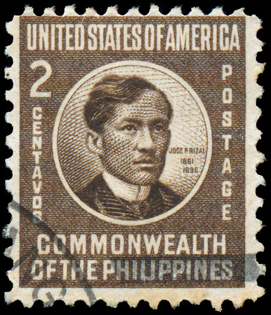 nationalist: PHILIPPINES - CIRCA 1946: stamp printed in Philippines shows Jose Rizal, National Hero, Nationalist and Reformist, circa 1946