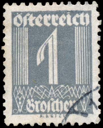 AUSTRIA - CIRCA 1925: A stamp printed in Austria shows image of the number 1, circa 1925. photo