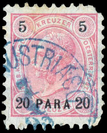 josef: AUSTRIA - CIRCA 1890: A stamp printed in the Austria shows Emperor Franz Josef I, 1830-1916, circa 1890 Editorial