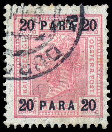 josef: AUSTRIA - CIRCA 1899: A stamp printed in the Austria shows Emperor Franz Josef I, 1830-1916, circa 1899