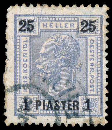 franz: AUSTRIA - CIRCA 1899: A stamp printed in the Austria shows Emperor Franz Josef I, 1830-1916, circa 1899