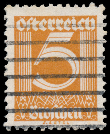 AUSTRIA - CIRCA 1925: A stamp printed in Austria shows image of the number 5, circa 1925. photo