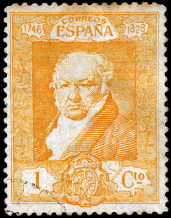 SPAIN - CIRCA 1930: Stamp printed in Spain shows Francisco de Goya y Lucientes, The 100th Anniversary of the Death of Francisco de Goya, 1746-1828 - Inscription 1746 - CORREOS ESPANA - 1828, circa 1930