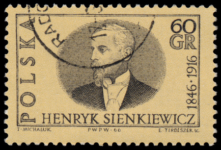 novelist: POLAND - CIRCA 1966: Stamp printed in Poland shows portrait of Henryk Sienkiewicz Polish journalist and Nobel Prize-winning novelist. 120th of the Birth and the 50th Anniversary of the Death; circa 1966