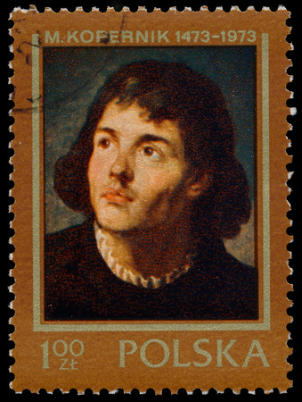 copernicus: POLAND - CIRCA 1973: a stamp printed in the Poland shows Nicolaus Copernicus, from the series 500th Anniversary of the Birth of Mikolaj Kopernik, circa 1970